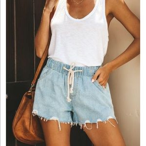 NWT Distressed Drawstring Jean Cutoff Denim Short